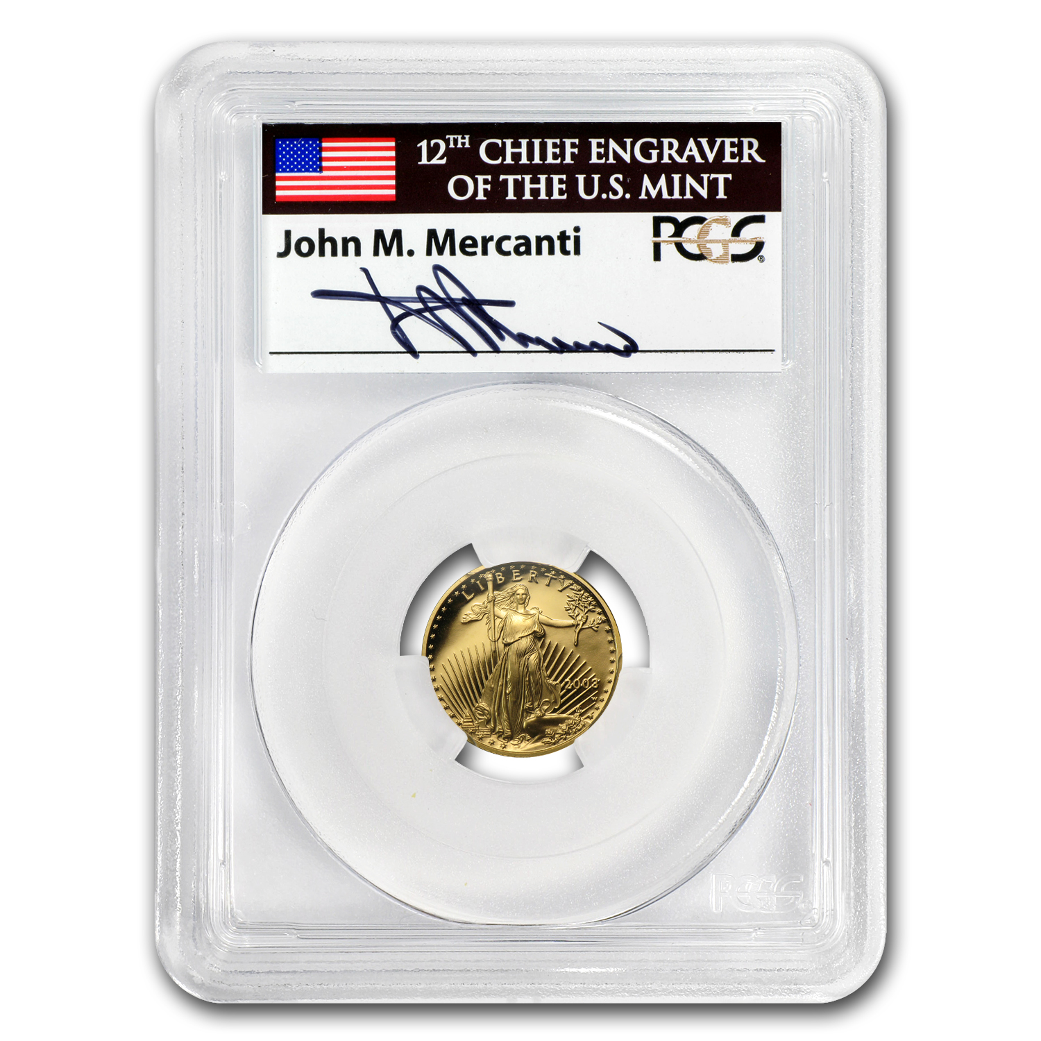 2003-W 1/10 oz Proof Gold American Eagle PR-70 PCGS John Mercanti